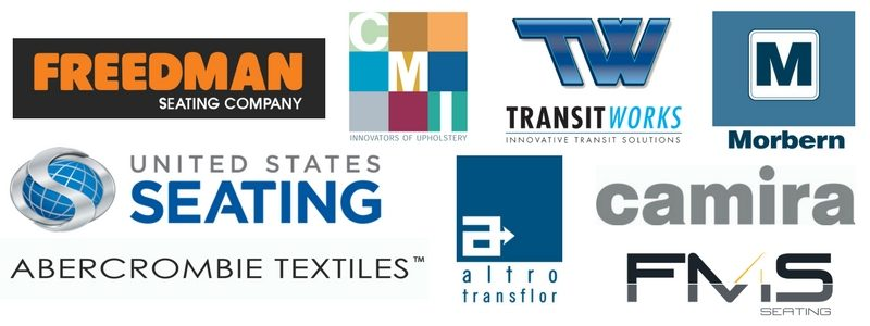 Freedman Seating, Altro Transfloor, United States Seating Company USSC, FMS Seating, Camira Fabrics, CMI Enterprises, Abercrombie Textiles, TransitWorks, Morbern