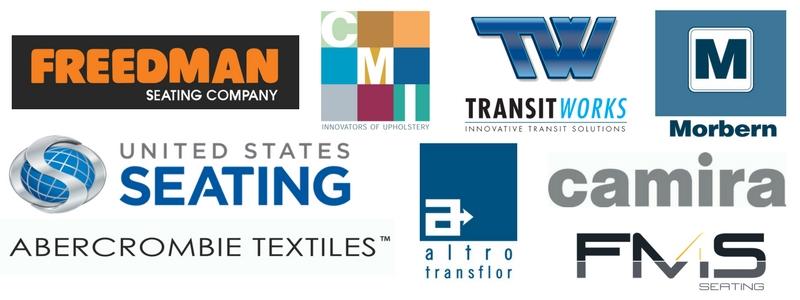 Freedman Seating, Altro Transfloor, United States Seating Company USSC, FMS Seating, Camira Fabrics, CMI Enterprises, Abercrombie Textiles, TransitWorks, Morbern